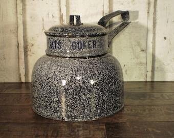 grey enamel pan, enamel cooker, Quaker oats cooker , cooking pot rare