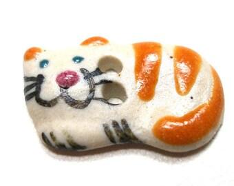 "Mini Ceramic CAT Button, Handmade orange stripe kitty, 2/3"", tabby cat. Smiling,happy cat."