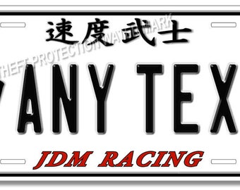 "Japan Japanese JDM Racing Customized ANY TEXT Kanji Auto Car Truck License Plate Tag New 6""x12"""