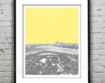Belle Isle & Detroit Michigan Wedding Gift or Guest Book Guestbook Poster Print -City Skyline MI