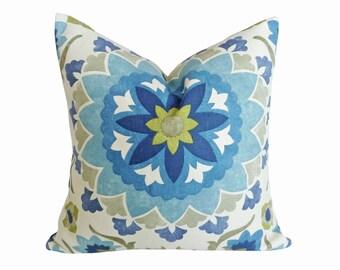 Suzani Pillows, Beach House Pillows, Blue Pillow Cover, Blue Throw Pillow, Coastal Pillows, Blue Green Cream, Zipper, Lumbar, 18, 20, 22, 26