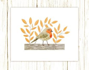 European Robin Print -- bird art -- bird art 52 birds stephanie fizer coleman illustration