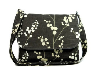 Medium Gray Messenger Bag for Women, Tree Purse, Gray Canvas Crossbody Bag, Cross Body Purse, Fabric Pocketbook, Gray Purse, Canvas Purse