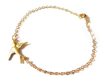 Gold Sparrow Bracelet, Delicate Bird Bracelet, Simple Gold Bracelet