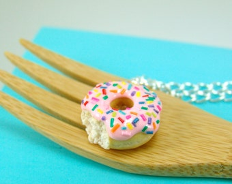 Food Necklace // Donut Necklace with Rainbow Sprinkles // MADE TO ORDER