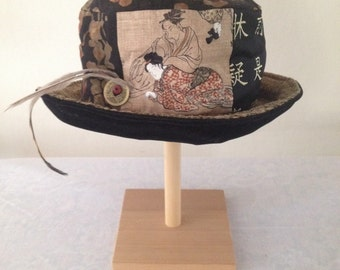 Geisha Silk Velvet and Cotton Elegant, Travel Friendly Hat