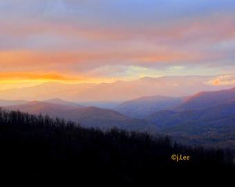 Blue Ridge Mountain, Mountain sunset,Landscape photograph, Smoky Mountains, Smoky Mountain photograph, Wall art, Fine art, Home decor