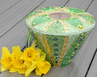 Green and gold mosaic flower vase