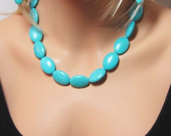 Beaded Turquoise Necklace Teal Oval Beads Single Strand Big Bead