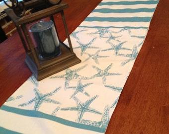 Nautical table runner Starfish beach stripe