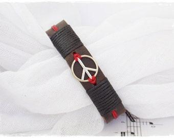 Men's Peace Bracelet, Leather Peace Bracelet, Surfer Leather Bracelet, Peace Sign Bracelet, Leather Bracelet For Him, Men's Leather Bracelet