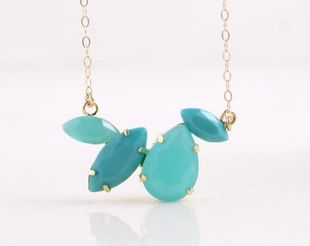 Blue Teardrop Necklace ~ Rain Drop Necklace ~ Rhinestone Necklace ~ Statement Jewelry ~ Ocean ~ Beach Jewelry ~ Simple Modern Jewelry