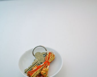 Gold and Red Lucky Cats Beaded Tassel Keyring