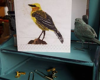 Yellow Wagtail greeting card 14 cm square