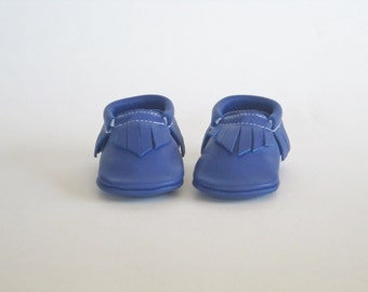 Cobalt Blue Leather Baby Moccasins