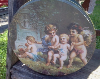 EASTER SALE~~Nesting Tin cherubs have Beautiful, sweet faces! So Cute!  three times the love