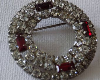 Vintage brooch,1950's Sparkling red and clear baguette and round crystals open circle  brooch
