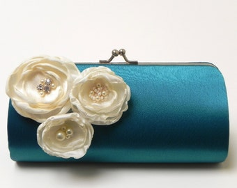 Teal Clutch - Bridal Clutch - Bridesmaid Clutch - Turquoise Clutch - Bouquet Clutch - Ivory Flower Blossoms with Rhinestones