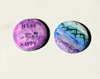 Hike and Mountain/ Pendant / Gift for Her, Him / Appalachian Trail / Hiking / Backpack / Handmade Painted Jewelry / Personalize / Quote