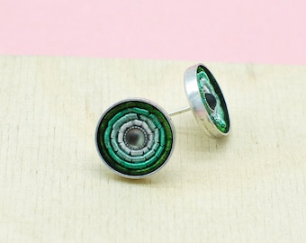 Ohrringe Ohrstecker in Mint, versilbertes Messing. Ideale Alltagsohrringe mit Wow-Effekt. Ideales Geschenk