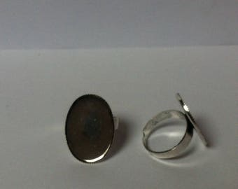 Set of 2 support of adjustable Silver Oval Ring