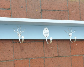 36 Inch Shelf with Personalized Spoon Hooks and Funky Fork Hooks Recycled Silverware