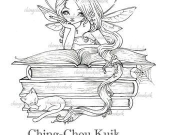 Lil Bookworm Fairy - digitale stempel Instant Download / boek kat dierlijke Lil lieverd Mia sprookje door Ching-Chou Kuik