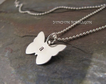 Handstamped Sterling Silver Butterfly Charm Necklace