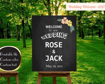 welcome wedding sign, welcome to our wedding sign, wedding welcome sign wood, wedding welcome sign , Custom Wedding Welcome Sign   W20