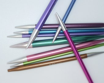 Clearance - KnitPro Zing interchangeable Needle Tips,  Standard Normal Length, colour-coded  and lightweight