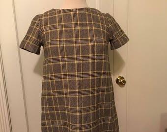 60's mod shift dress plaid tartan wool