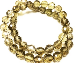 "14"" Strand of 8 mm Faceted Round Whiskey Quartz Beads"