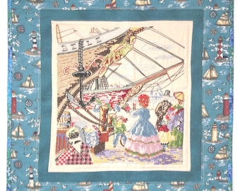 Patchwork, Vintage Embroidery, Antique Shipyard Wallhanging, Repurposed, Upcycle