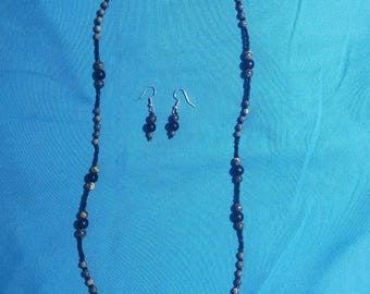 Handmade Black Glass & Green Marble Bead Necklace and Earring Set