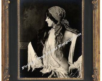 Gypsy Flapper Art Nouveau Art Print 8 x 10 - Profile Shot