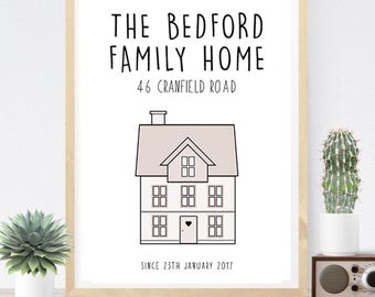 Personalised New Home Print, House Warming Gift, Personalised Print, GiftforHer, Wall Art, Home Decor, Family Home