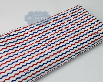 Japanese wave sea blue and Red theme fabric