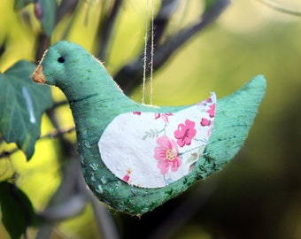 Bird - green shimmering fabric with flowery wings