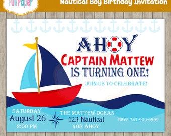 Nautical Boy Birthday Invitation, Nautical Baby Shower Invite, Sailboat Invitation, Whale Invite, Nautical Party, Boy Invitation, Nautical