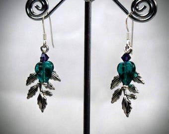 Leaf Earrings - Crystal Earrings - Bohemian Jewelry - Silver Leaf Jewelry - Green Leaf Earrings - boho earrings - woodland earrings