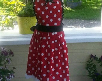 Girls Minnie Inspired Dress Up Apron, Girls Dress Up Apron, Minnie Apron