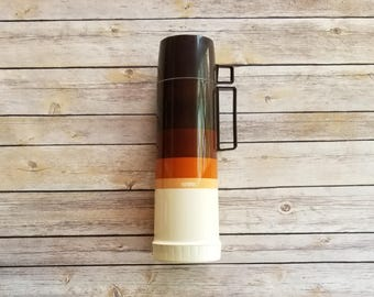 Coffee Thermos Brown Ombre Decor Home Thermos Tall Camping Gear For Him Gift Father's Day Brown Earth Tones 1 Liter Thermos Good Condition