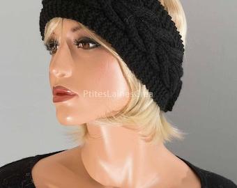Hand knitted headband, ear-warmer, headband, women,
