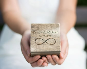 Wedding Ring Box Rustic Ring Holder Bearer Personalized Rustic Ring holder Infinity Ring Pillow Bearer Box