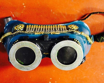 Custom Goggles- Gold and green - steampunk style