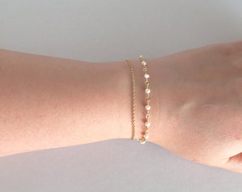 Freshswater Pearl Bracelet, Bridesmaid Bracelets, Double Delicate Bracelet, Rolo Chain Bracelet,Brides Bracelet, Layered Bracelet,Minimalist