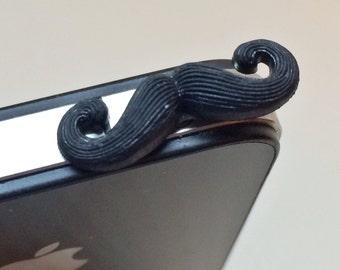 Mustache cell phone charm, dust plug charm