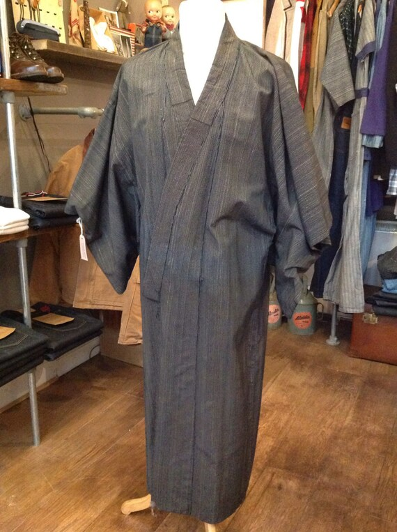 Vintage Japanese mens long kimono indigo kasuri robe dressing gown traditional boro
