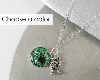 Circuit Board Robot Necklace, Computer Programmer, Robot Jewelry, Computer Geek, Geek Gift for Her, Tech Gift, Wearable Technology, Nerdy