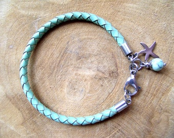 Leather strap 4 mm stainless steel mint starfish